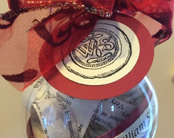 Hamlet Book Ornament; Shakespeare; Opening Night Gift