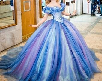 Full set Cinderella dress 2015 Halloween costume Adult