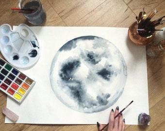 Original watercolor painting - Moon