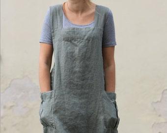 Linen apron, Original linen pinafore, linen tunic, linen dress apron, linen, linen pinafore, work dress