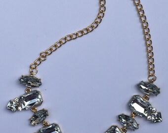 Statement Necklace, Crystal Necklace, Bib Necklace, Special Event Necklace, Gold Tone Necklace, Collar Necklace