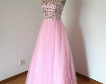 Long Prom Dress, Prom Dress 2016, V-back Prom Dress, Pink Prom Dress, Tulle Prom Dress, Ball Gown Prom Dress