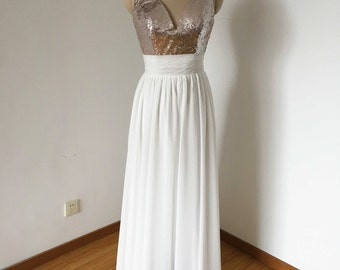 V-neck Silver Sequin Ivory Chiffon Long Bridesmaid Dress