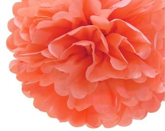 Coral Tissue Paper Pom Pom, Various sizes | Coral Wedding, Birthday, Bridal Shower, Home Decor, Nursery & Party