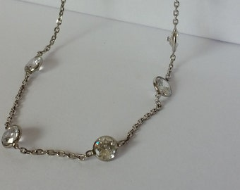 """Beautiful and Classic Sterling Silver CZ Station Necklace, Offset Style 24"""" long"""