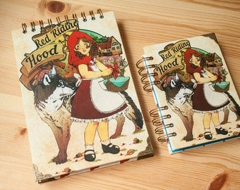 """Paper Pad """"Red Riding  Hood"""" fantasy colour pages, white pages , for drawing, witch, sketchbook, big, pink, notebook, perfect gift"""