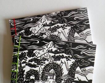 Original linocut Loch Ness Monster Notebook with Japanese binding