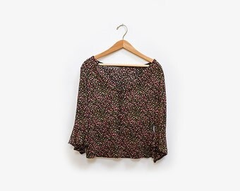 Floral bell Sleeve Top S