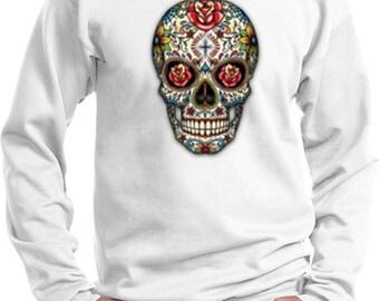 Men's Skull Sweatshirt Sugar Skull with Roses Sweat Shirt WS-16553-PC90