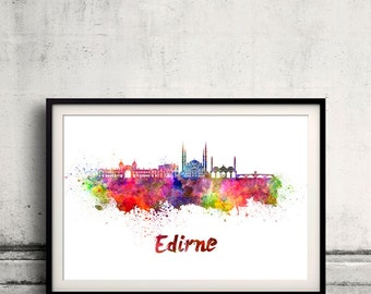 Edirne skyline in watercolor over white background with name of city - Poster Wall art Illustration Print - SKU 1877