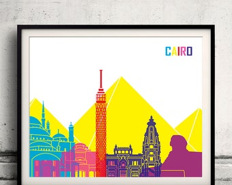 Cairo pop art skyline 8x10 in. to 12x16 in. Fine Art Print Glicee Poster Gift Illustration Pop Art Colorful Landmarks - SKU 1107