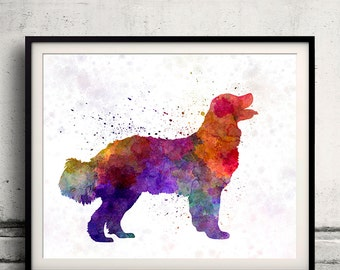 Landseer in watercolor 8x10 in. to 12x16 in. Fine Art Print Glicee Poster Decor Home Watercolor Illustration - SKU 1190