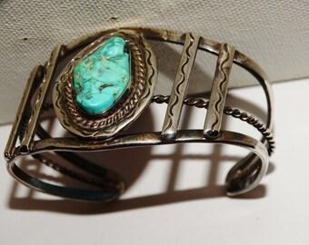 Vintage Navajo 28 G. SterlingTurquoise Cuff Bracelet.