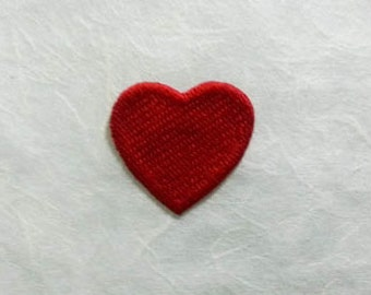 Red Heart Iron on Patch - Red Heart Applique Embroidered Iron on Patch