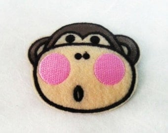 Monkey Iron on Patch(M2) - Monkey Cartoon Applique Embroidered Iron on Patch - Size 6.0x5.2 cm