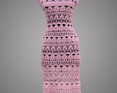 SALE 50% OFF. Crochet Dress Catherine. Ready to ship. Pink Day or Cocktail Organic Cotton Crochet Dress.