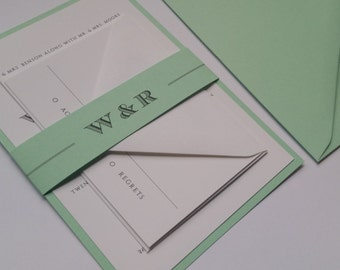 Mint Green Wedding Invitation Suite, Green Contemporary Wedding Invitations, Mint Wedding Invitation, Mint and White Modern Invitation