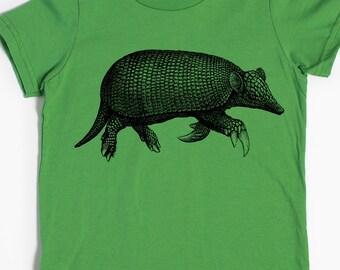 Armadillo T-shirt - Kids' Shirt - Children's Gift - Screen Printed Mammals - Armadillo Art