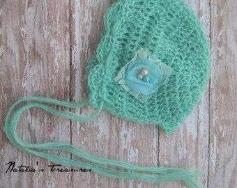 Mint Mohair bonnet.Newborn Bonnet.Ready to ship.Photo Prop.Baby Gift