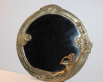 Vintage Art Nouveau Style Round Brass Mirror-Female Figure/Nymph & Flowers