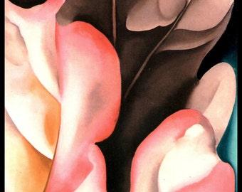 """Georgia O'Keeffe, Southwestern Art, Georgia O'Keefe, O'Keefe Print, Georgia Okeefe, New Mexico,  """"Oak Leaves - Pink and Gray"""""""