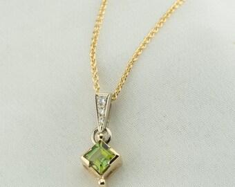 Green tourmaline pendant, Tourmaline pendant, 14K gold green stone pendant, Tourmaline and diamonds, spring green square tourmaline pendant