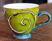 Green Mug, Mug, Pottery Mug, Ceramic Mug, Tea Mug, Coffee Mug, Danko, Cute Mug, Unique Mug, Handmade Green Mug