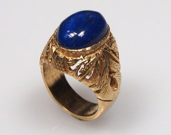 antique handmade Silver Ring  gold-plated statement ring from Afghanistan No-443