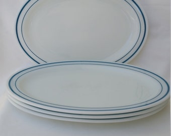 Set of Four Vintage Blue Band Pyrex Tableware Plates Platters