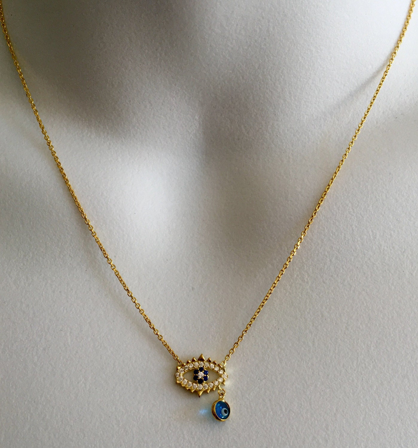 14 karat gold evil eye necklace