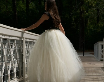 Wedding Maxi tulle skirt ,floor length tutu skirt ,Adult tulle skirt,Bridal tulle skirt,custom made from MyFabBoutique! ivory premium tulle