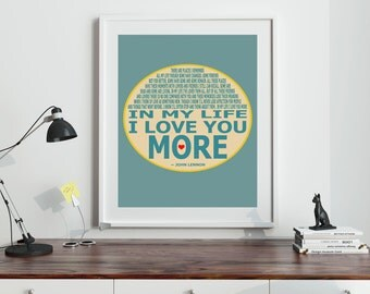 Gift For Wife Gift For Girlfriend Gift For Husband The Beatles - Beatles Wall Art In My Life John Lennon Lyrics Beatles (8 sizes available)