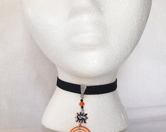 Orange spiral spider Halloween, Velvet Ribbon Pendant Choker
