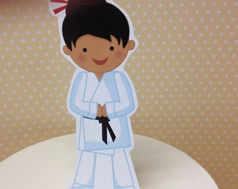 Boy or Girl Karate Party Cake Topper Decoration