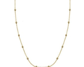 14k Yellow Gold Bead Station Necklace