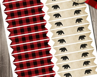 Lumberjack Bash Straw Flags, Lumberjack Straw Flags, Flannel Up Straw Flags