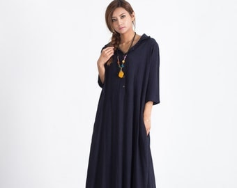 Oversize Women's maxi Dress Loose linen cotton dress cotton caftan linen kaftan plus size clothing large size dress Custom_made clothing A51