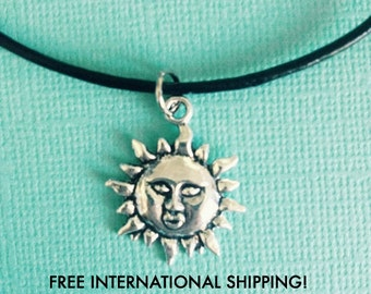 SALE! Sun Choker Necklace - boho - handmade - leather chain - silver pendant