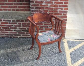 Antique Throne ARM CHAIR -Renaissance Revival Barrel Throne Chair Carved Wood U-shaped - Savonarola Style -  unique find