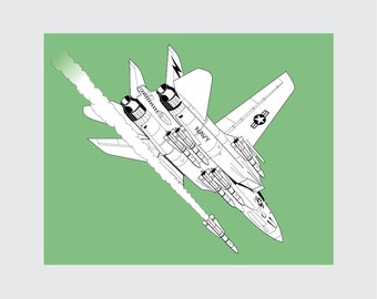 F-14 Tomcat Art Print, 8x10 PRINTABLE, Fighter Jet, Instant Download, Digital