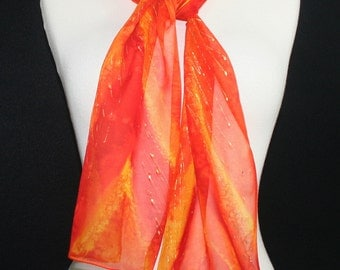 Silk Scarf Handpainted. Orange, Red Hand Painted Shawl. Handmade Silk Wrap SUNRISE MELODY. Size 8x54. Birthday, Mother Gift. Gift-Wrapped