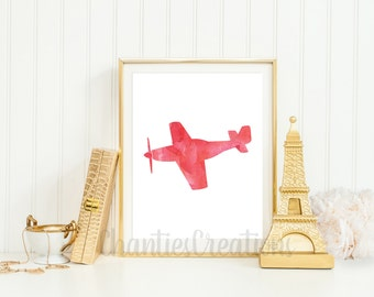 Airplane Vintage Red Watercolor Wall Art Printable. Printable Airplane Wall Art for Boys Room or Kids Room.
