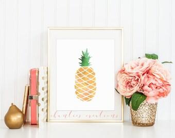 Yellow Watercolor Pineapple Wall Art Printable. Home Decor Wall Art.