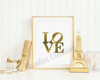 Gold Foil Love Printable Wall Art 8x10