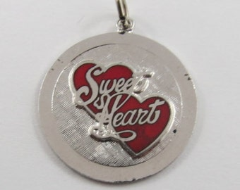Sweet Heart With Red Enamel Hearts Sterling Silver Vintage Charm For Bracelet