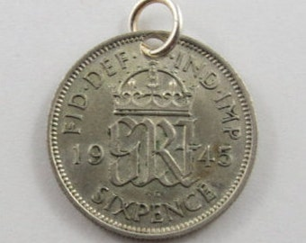 Great Britain 1945 Wedding Silver SIXPENCE Coin Charm.