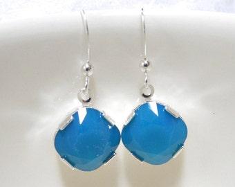 Swarovski Caribbean Blue Opal Diamond Drop Earrings, Swarovski Diamond Earrings, Swarovski Blue Earrings, Blue Earrings
