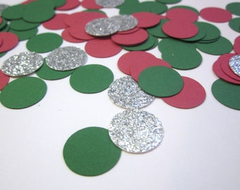 Christmas Confetti, Holiday Party Decor, Christmas Party Decor, Red, Green and Silver Confetti