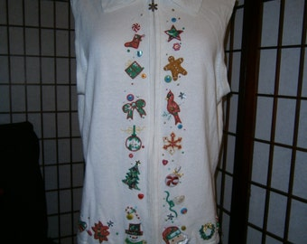 Ugly Christmas Vest - White with Holiday Designs