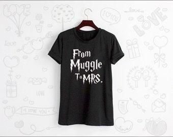 From Muggle To MRS. Shirt Tshirt T-shirt Tee Shirt Tops Grey White Unisex Size S M L XL